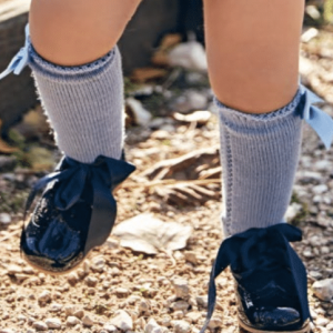 French Blue Bow Knee High Socks
