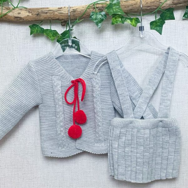 Grey & Red Knitted Dungaree Skirt Set 2