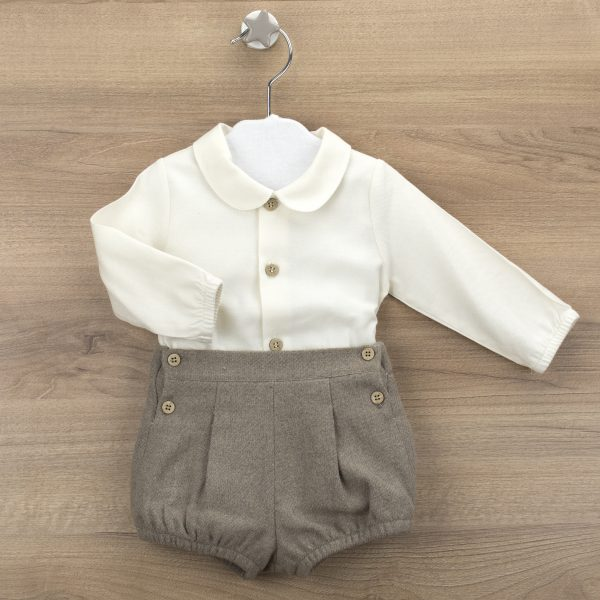 White Shirt & Beige Tweed Shorts