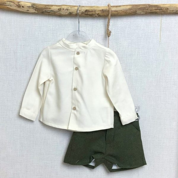 Ivory Shirt & Khaki Tweed Shorts