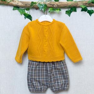 Mustard Jumper & Checked Shorts