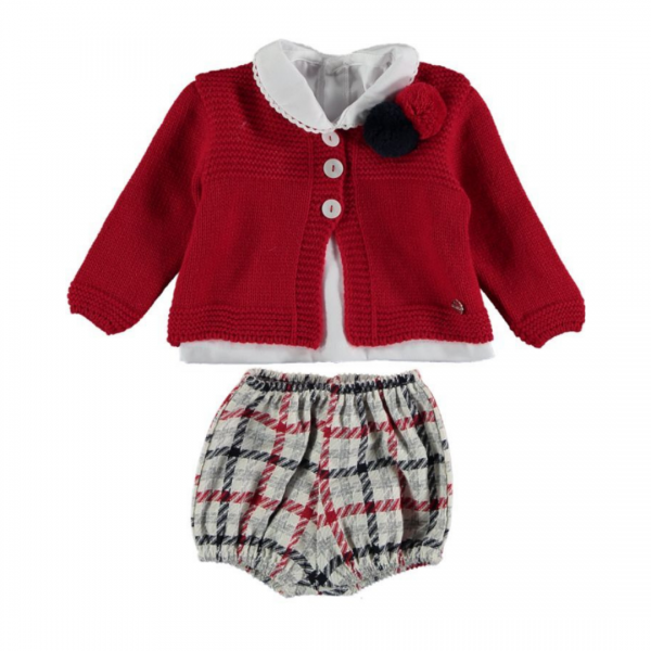 Cardigan, Shirt & Red Checked Bloomers