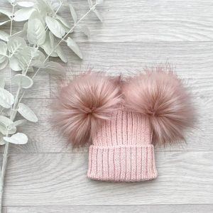 Rose Ribbed Double Pom Pom Hat