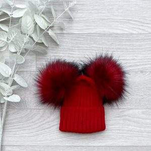 Ruby Ribbed Double Pom Pom Hat