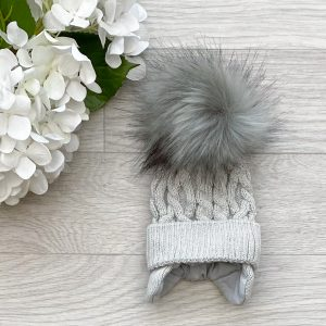 Grey Cable Twist Pom Pom Hat