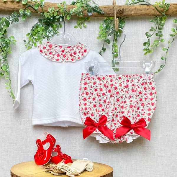 Blouse & Red Floral Bloomers 2