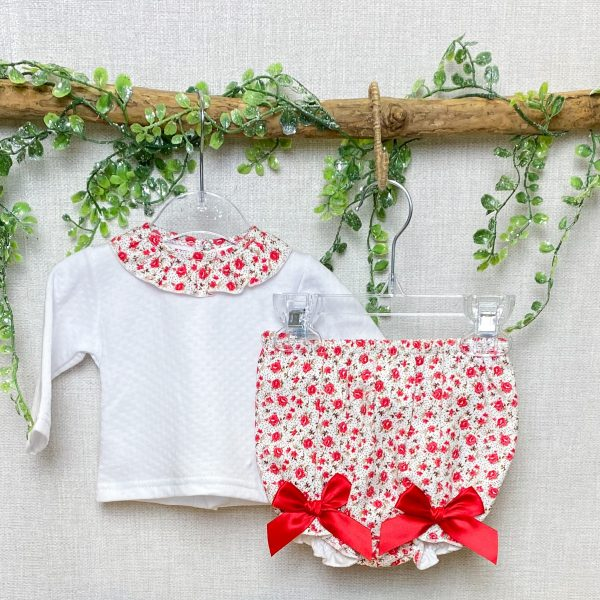 Blouse & Red Floral Bloomers