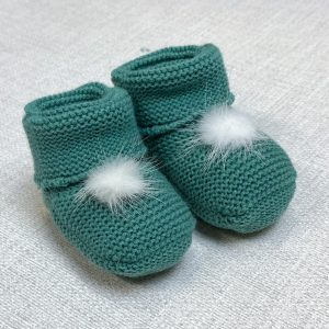 Emerald Fur Pom Pom Booties