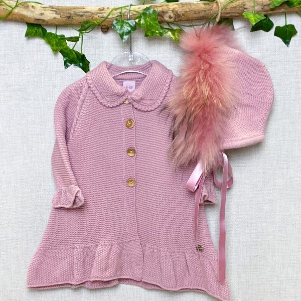 Blush Coat & Fur Bonnet Set