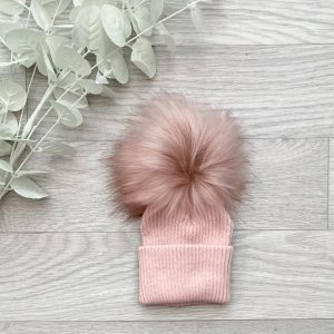 Rose Large Single Pom Pom Hat