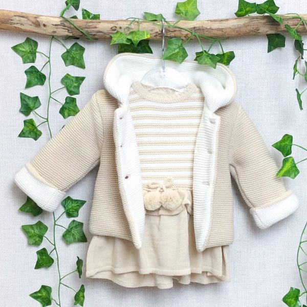 Sand Knitted Jacket & Dress Set