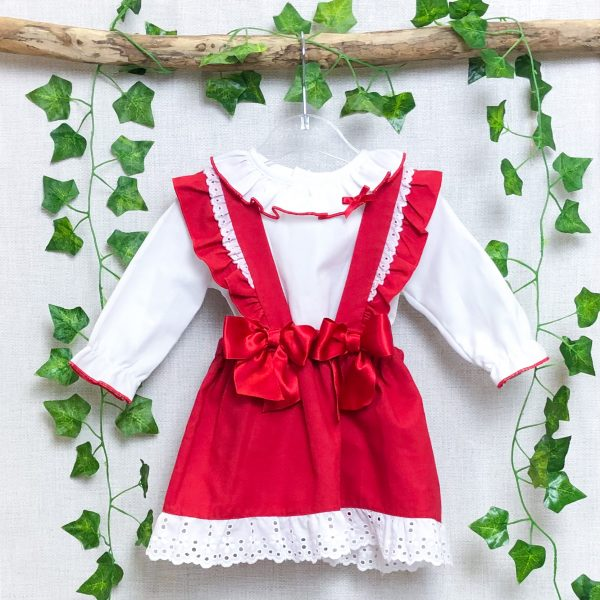 White Blouse & Red Bow Pinafore