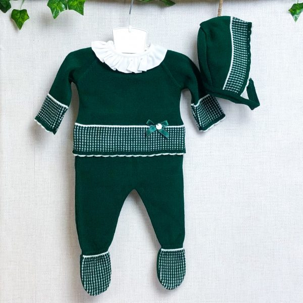 Dark Green & White Two Piece Bonnet Set