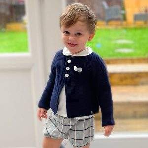 navy cardi, shirt and bloomers