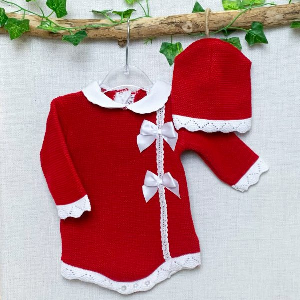 Red & White Bow Shortie Set