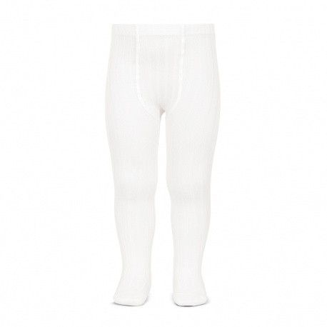 White Basic Wide Ribbed Tights