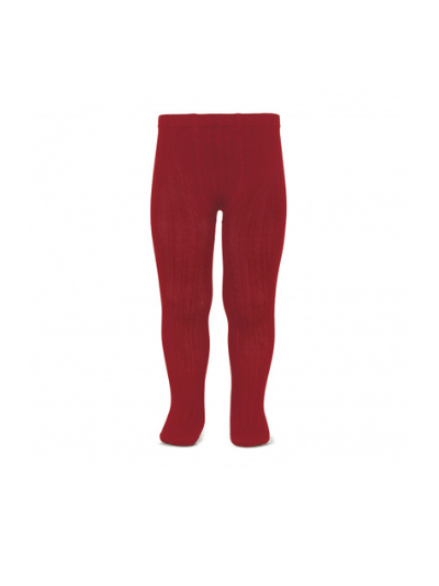 Deep Red Wide Ribbed Tights