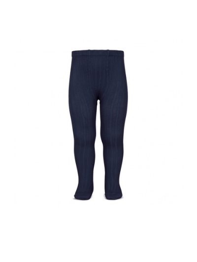 Navy Wide Ribbed Tights