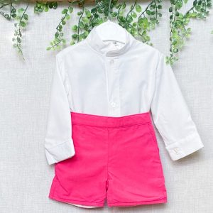 Classic Shirt & Pink High Waist Shorts