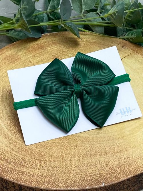 Green Large Grosgrain Hair Bow
