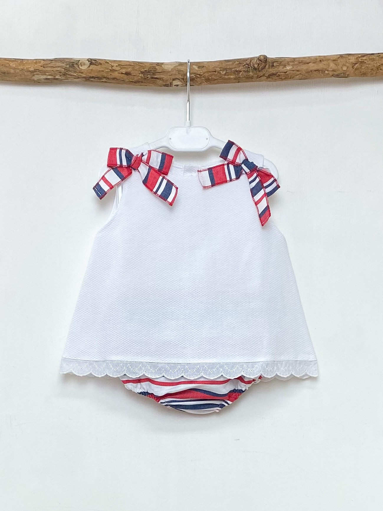 White A-Line Blouse & Bloomers