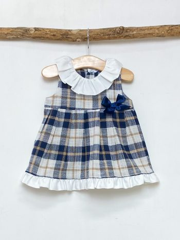 Navy & Camel Checked Dress