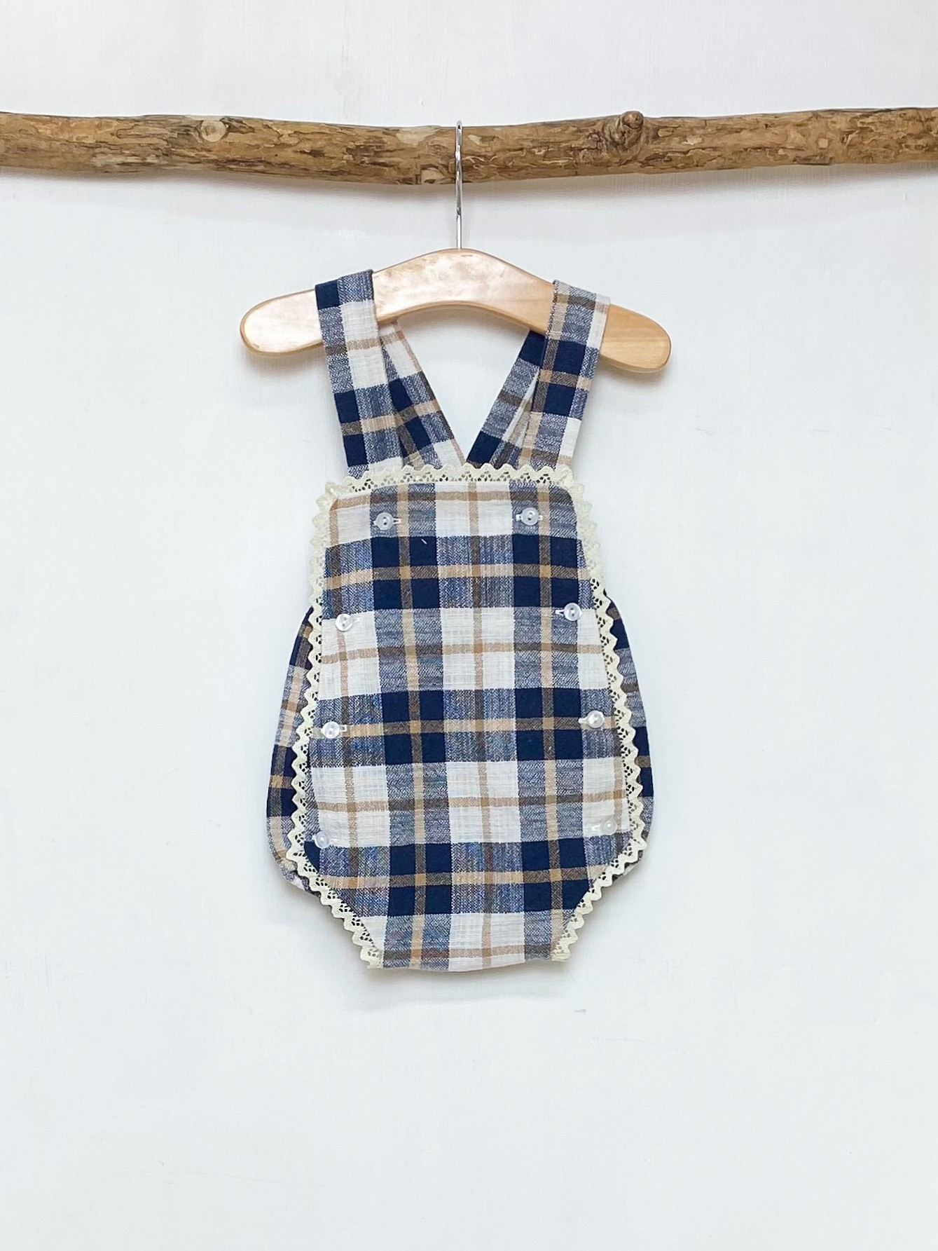 Navy & Camel Checked Bib Romper