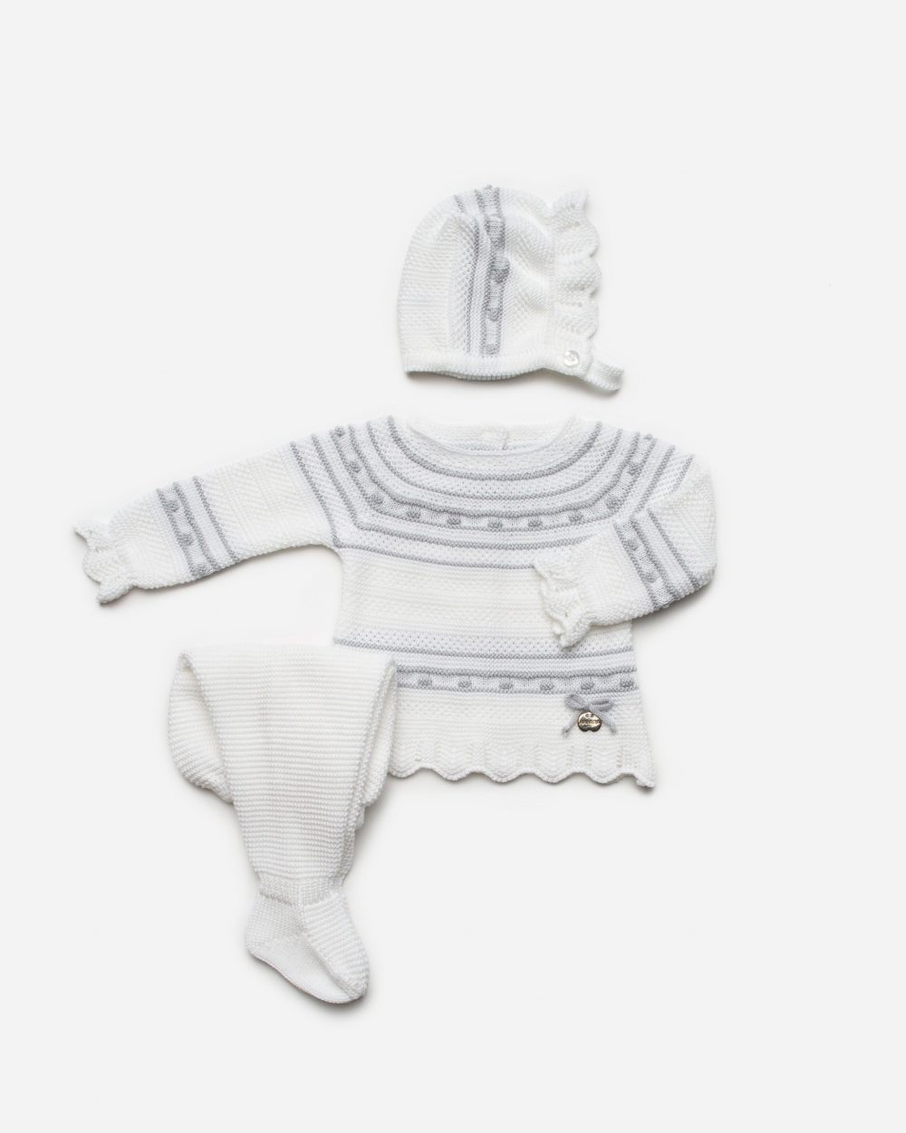 White & Silver Knitted 3 Piece 2