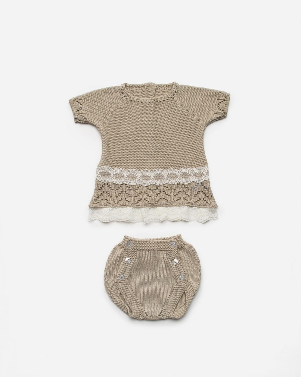 Beige Lace Frill Top & Jam Pants 2