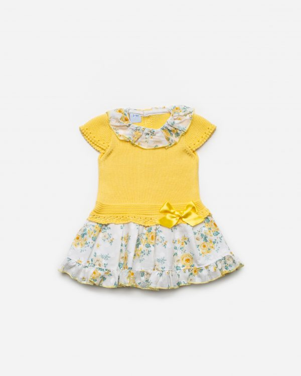 Yellow Knitted Drop Waist Floral Dress 2