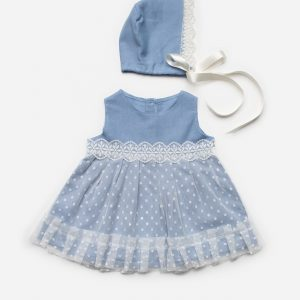 Denim Lace Dress & Bonnet
