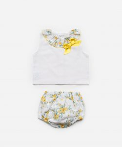 Yellow Floral Blouse & Bloomers