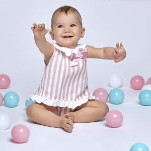 Dusky Pink Candy Stripe Bloomer Set