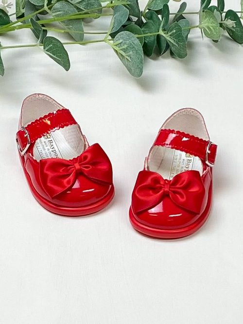 Red Patent Bow First Walkers