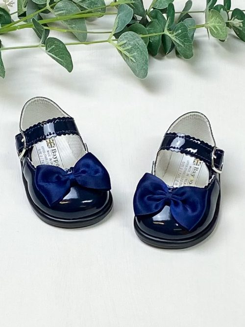 Navy Patent Bow First Walkers