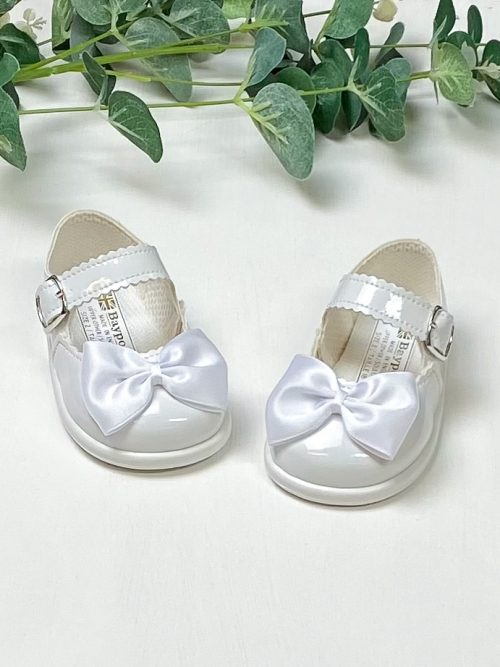 White Patent Bow First Walkers