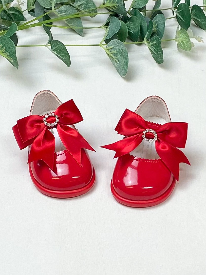 Red Diamanté Bow First Walkers