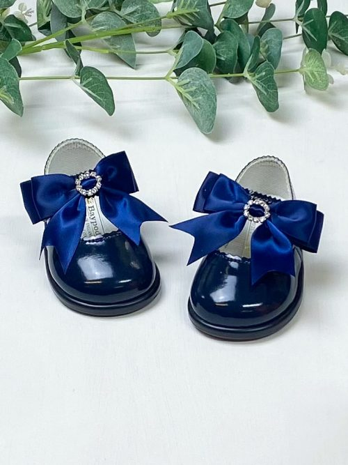 Navy Diamanté Bow First Walkers