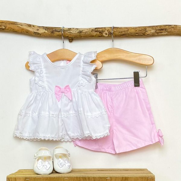 Peplum Blouse & Pink Shorts