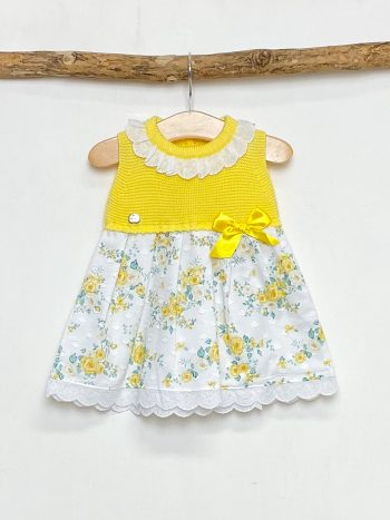 Yellow Half Knit Floral Dress