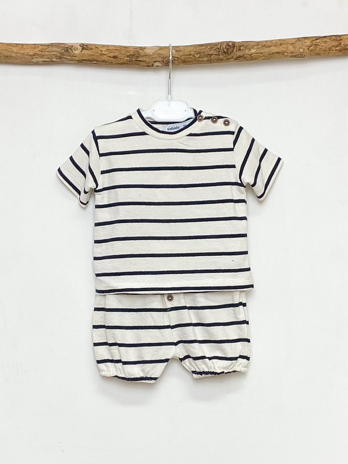 Ecru & Navy Stripe Tee & Shorts