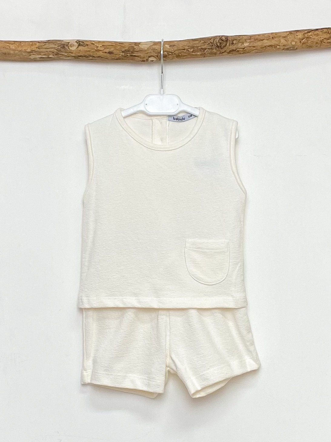 Ecru Pocket Vest & Shorts