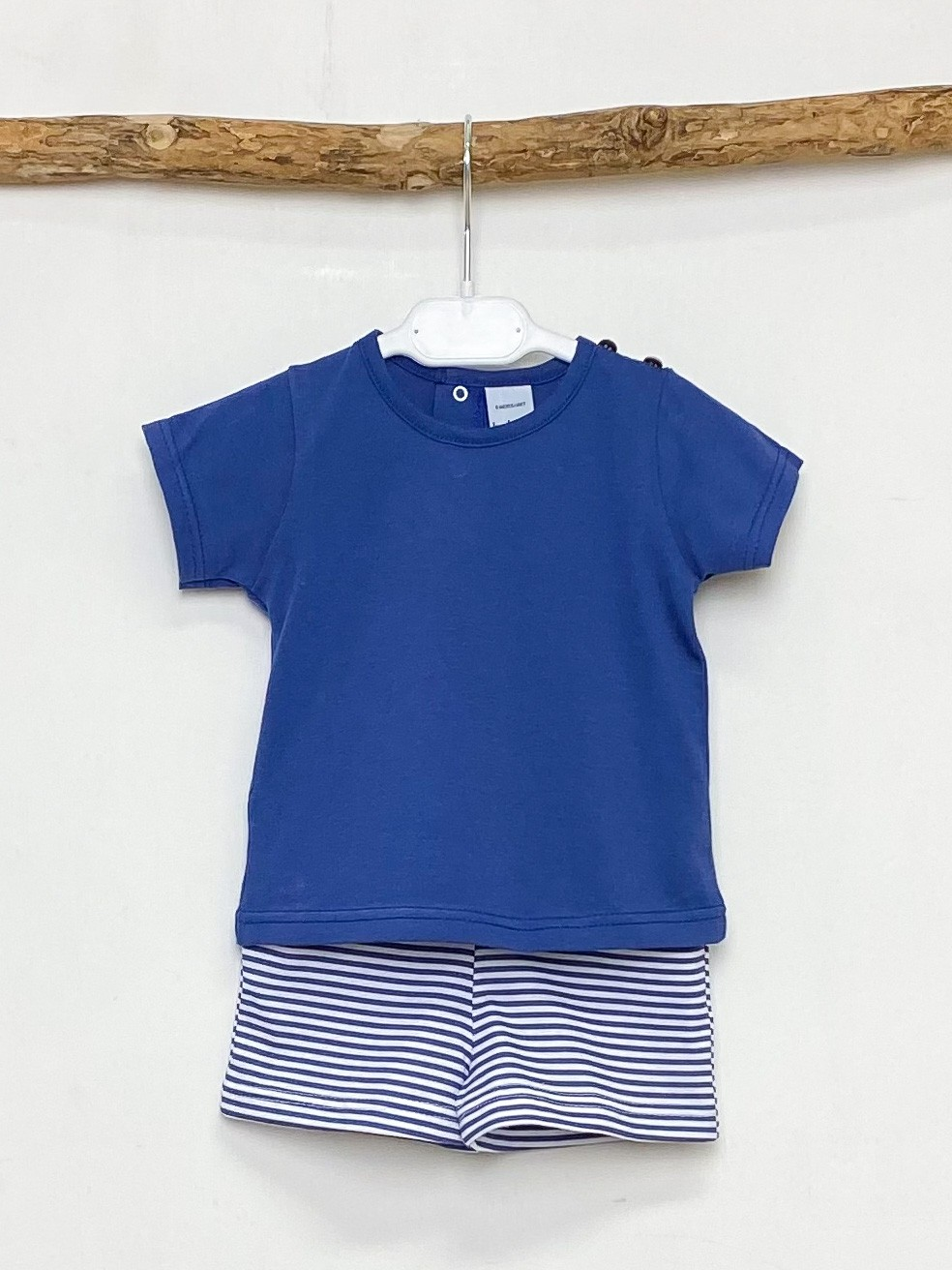 Navy Tee & Striped Shorts