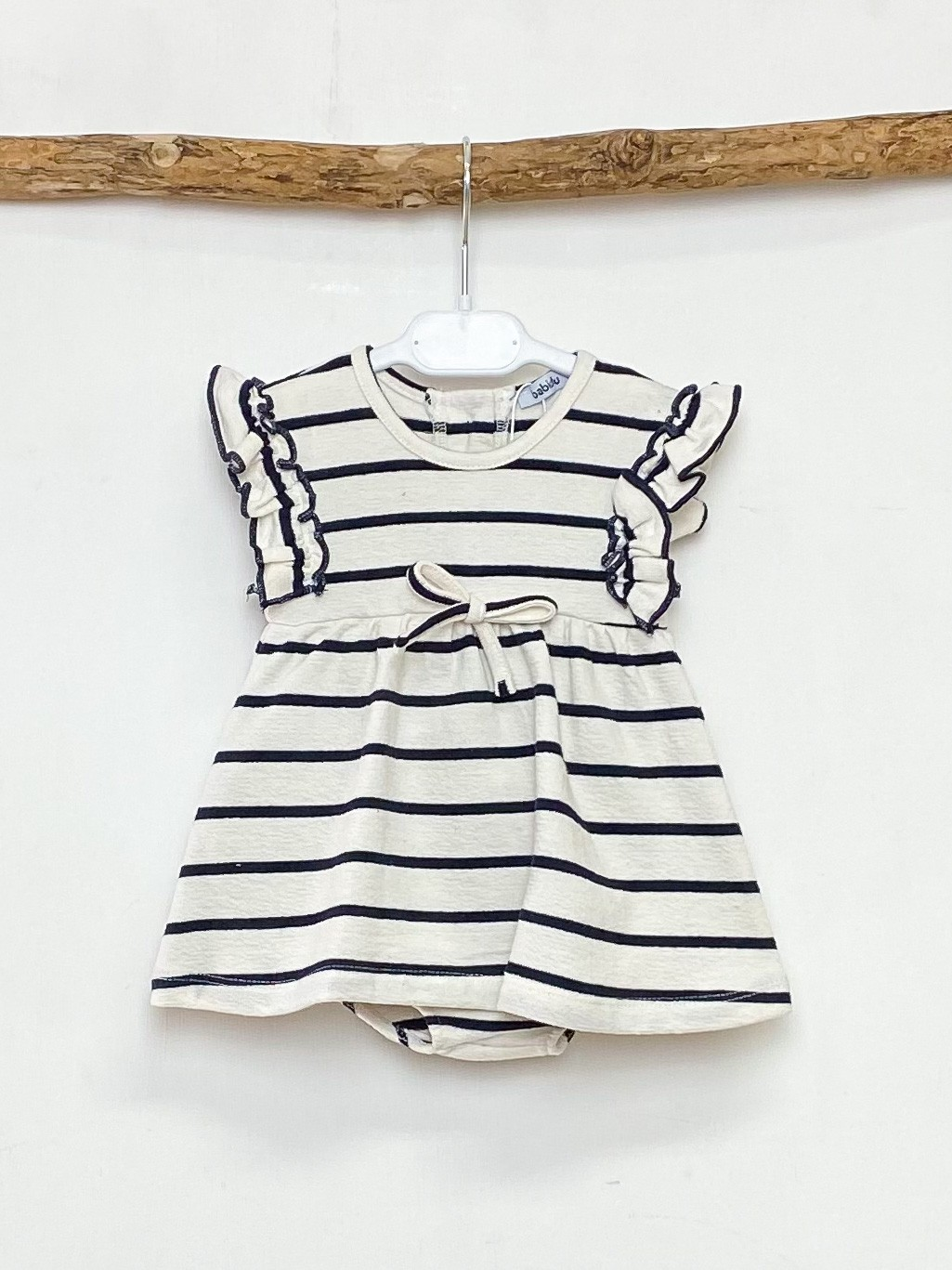 Ecru & Navy Stripe Dress & Knickers
