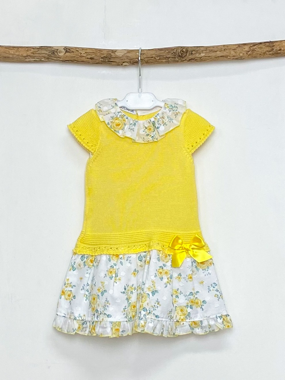 Yellow Knitted Drop Waist Floral Dress