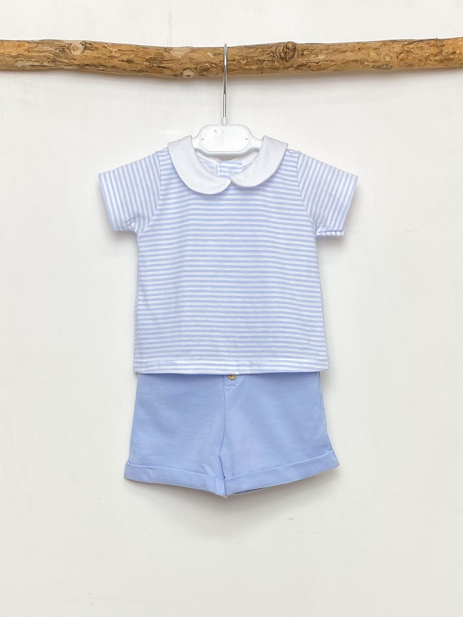 Sky Stripe Collared Tee & Shorts