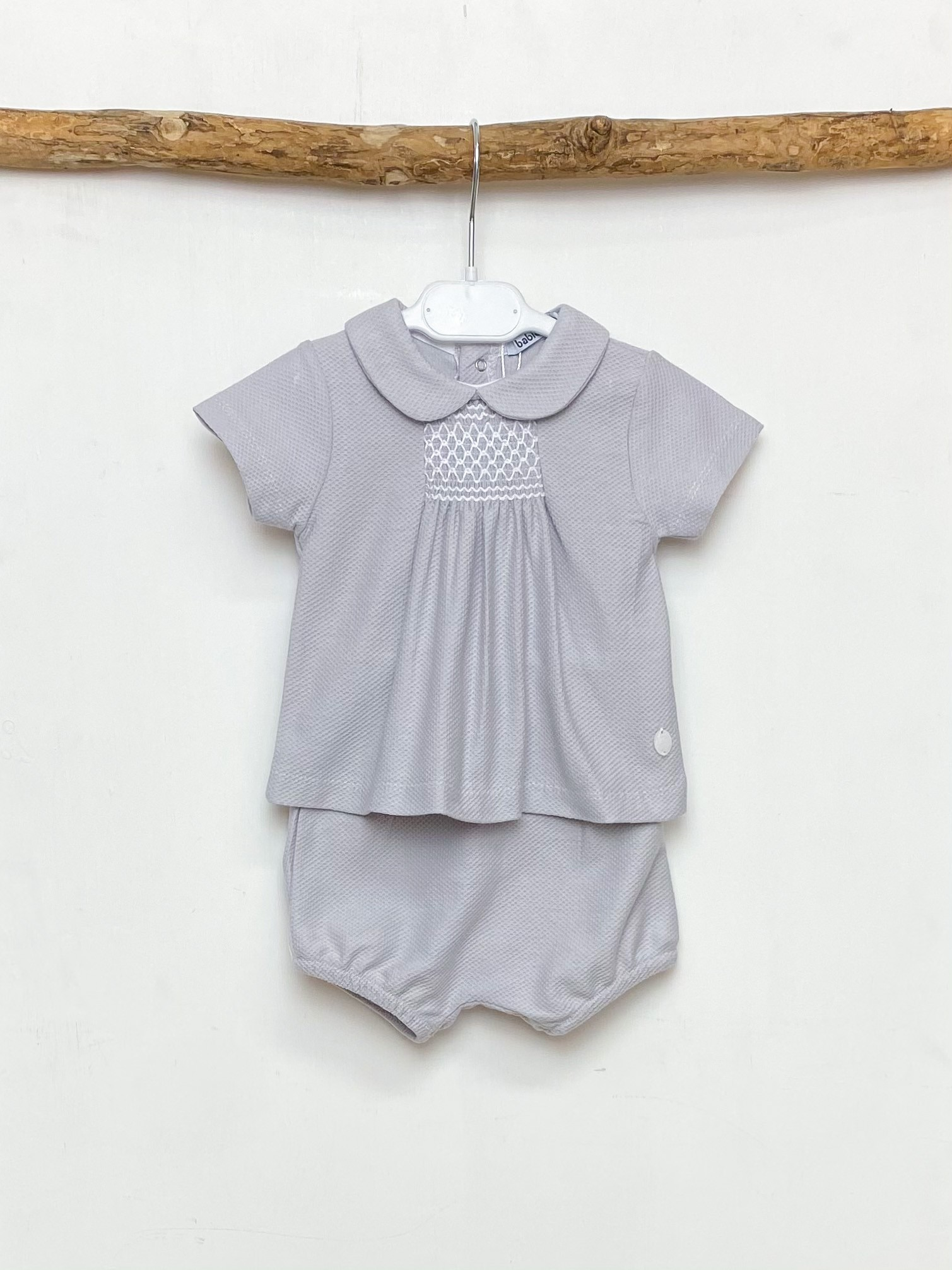 Grey Smocked Shorts Set