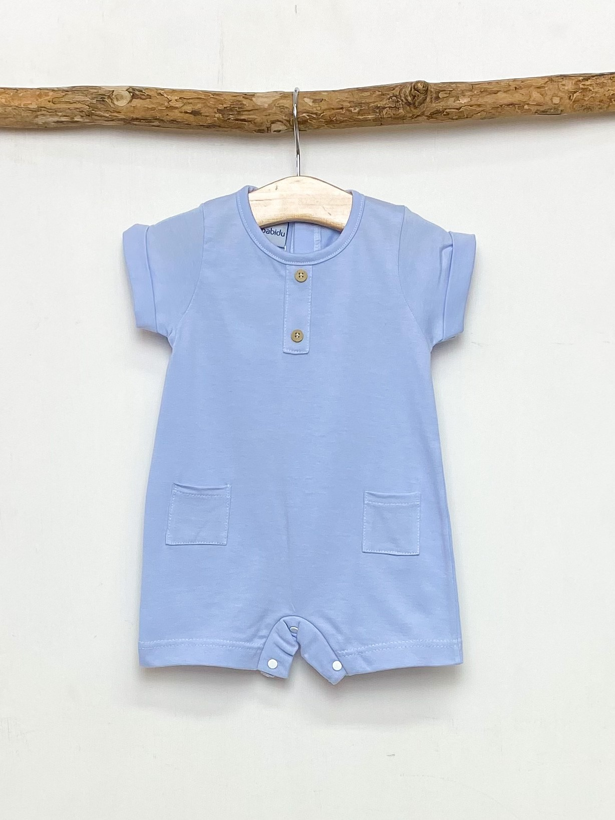 Cornflower Blue Pocket Romper
