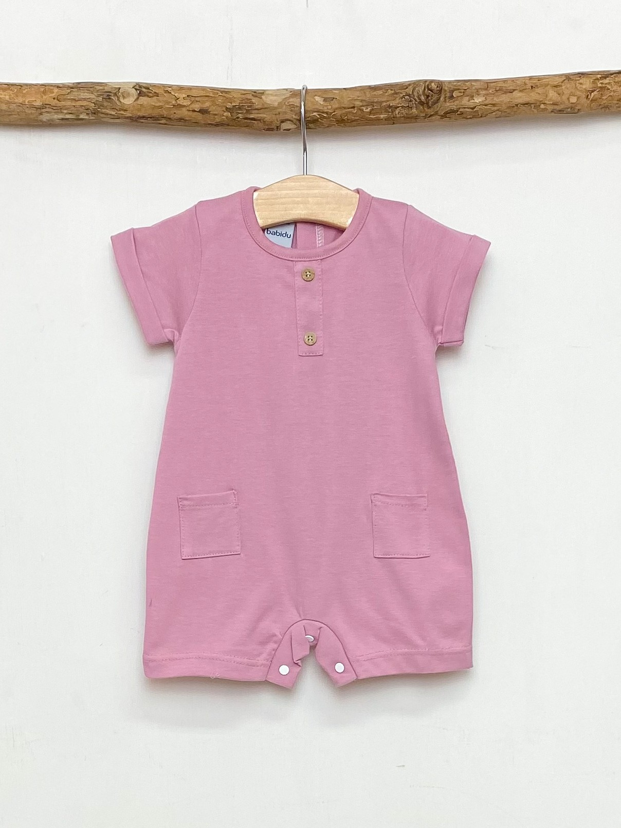 China Pink Pocket Romper