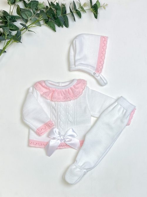 White & Pink Satin Bow Jumper & Leggings